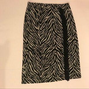 Black/White Zebra Striped Skirt w/black Fringe